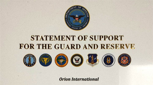 Orion International's Statement of Support for the Guard and Reserve
